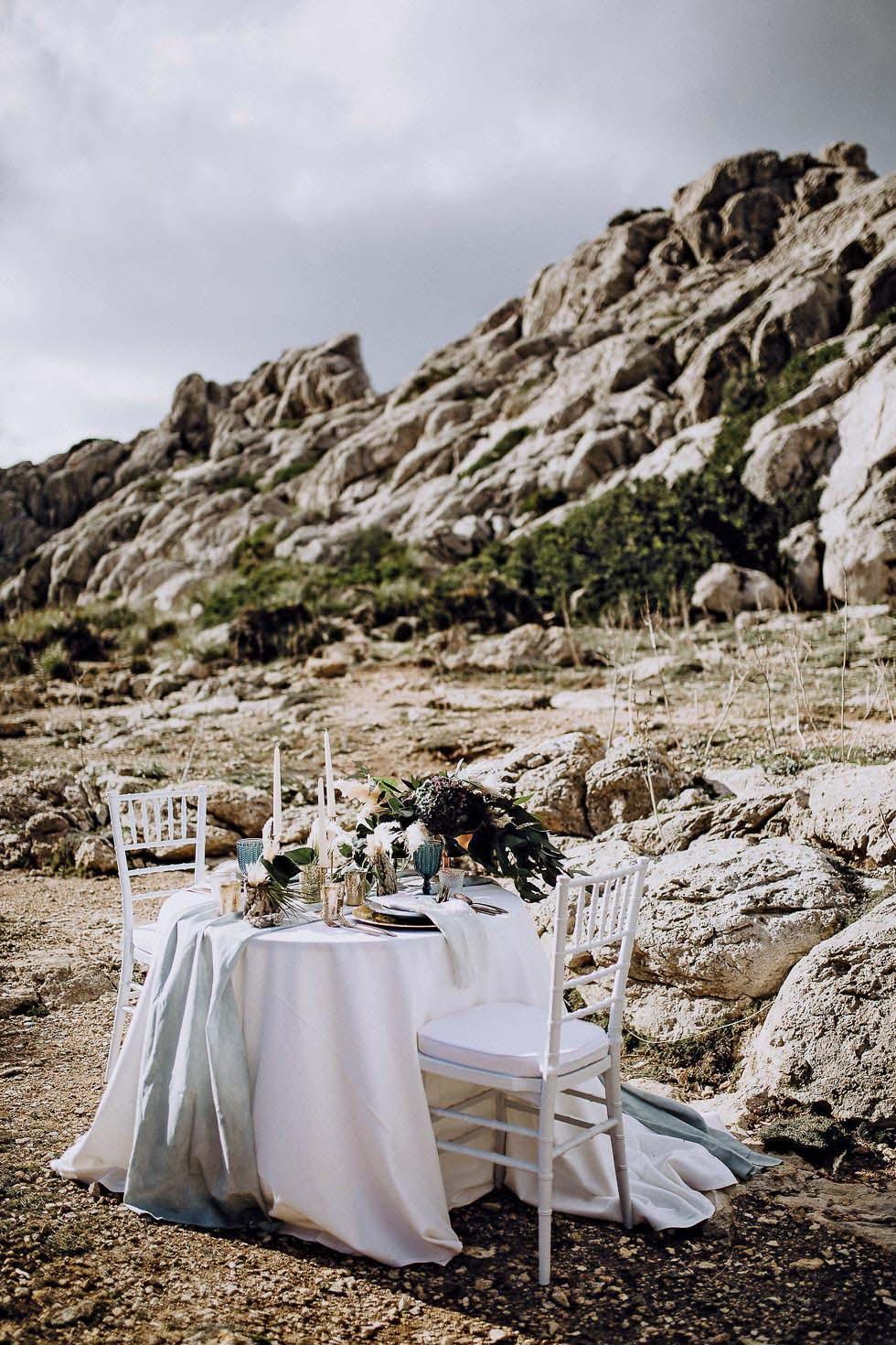 Tischdekoration Hochzeit Freien