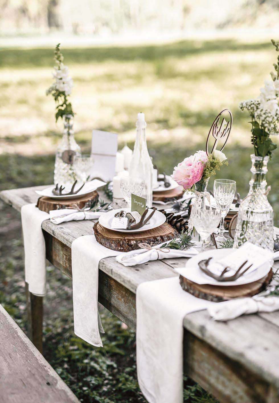 Tischdeko Hochzeit rustikal