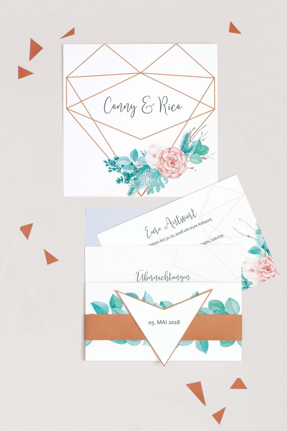 Einladung Hochzeit Geometrie