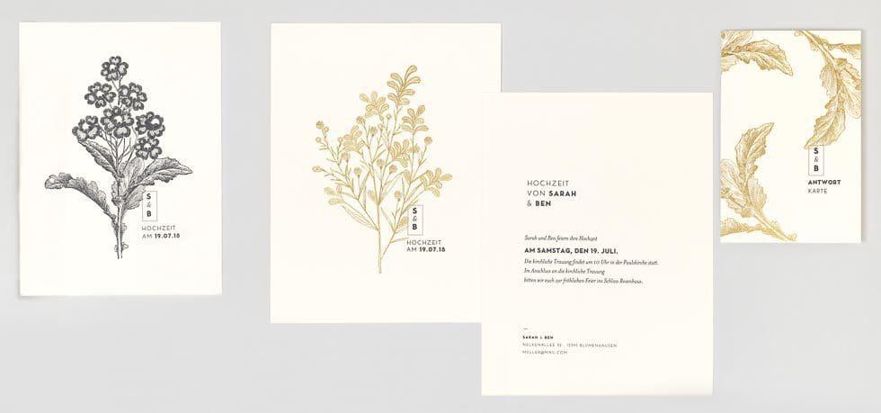 Einladungskarte Hochzeit Gold