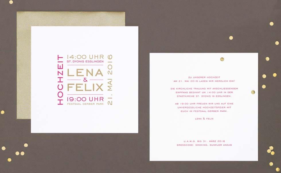 Einladungskarten Hochzeit Pink und Weiß