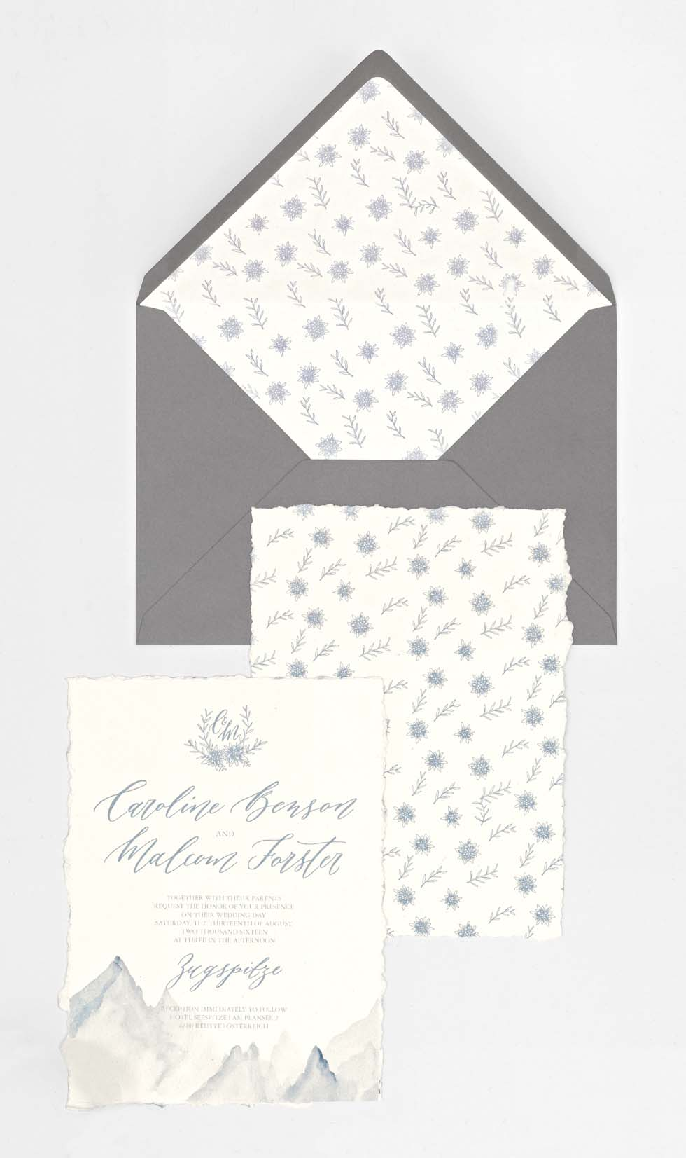 Hochzeit Einladungskarten Grau und Blau