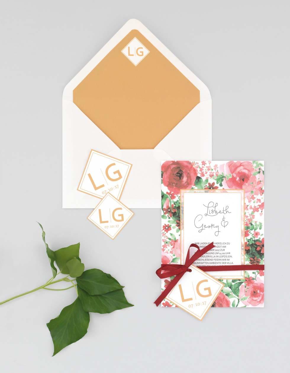 Papeterie Einladung Rot und Weiß