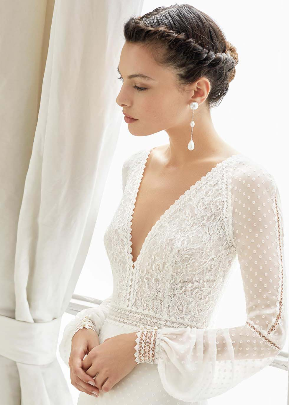 Brautkleid V-Ausschnitt Rosa Clara Couture