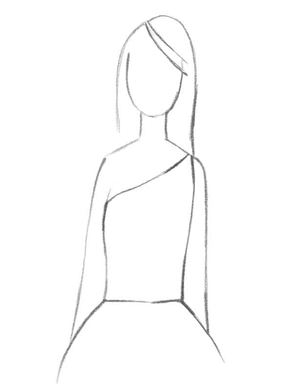 Brautkleid asymmetrischer Ausschnitt