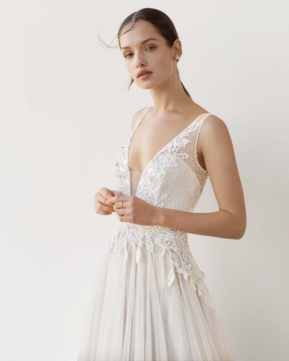 Brautkleid V-Ausschnitt Rosa Clara Soft