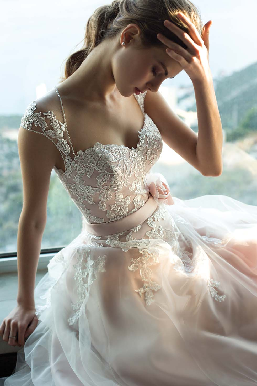 Brautkleid-Farbe Zartrosa Orea Sposa