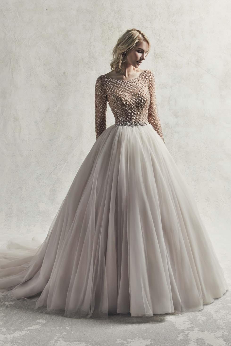 Brautkleid-Farbe Grauweiß Sottero and Midgley