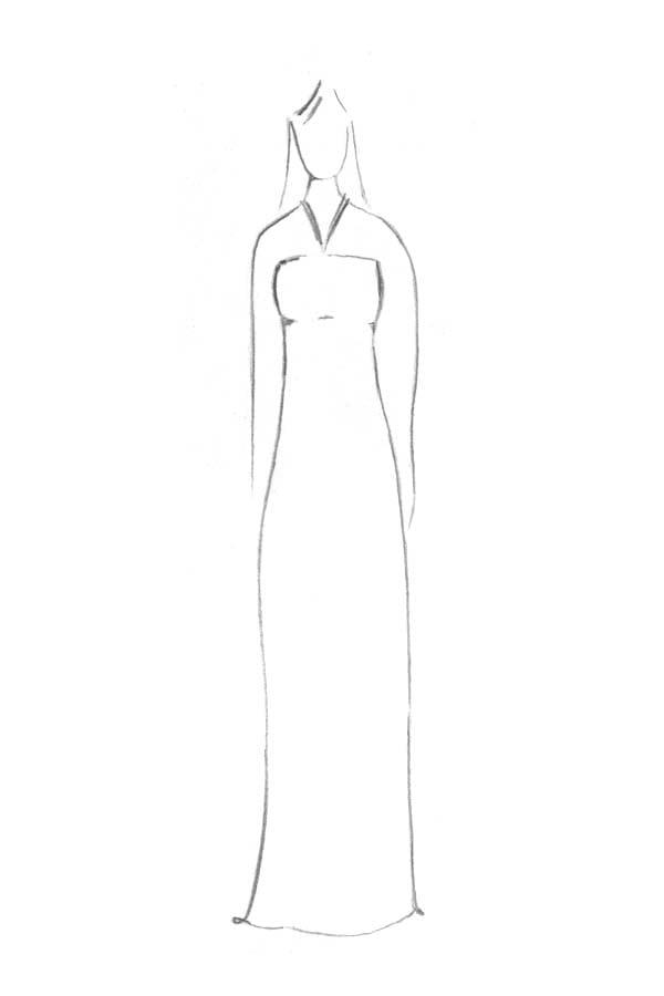 Brautkleid Form I-Linie