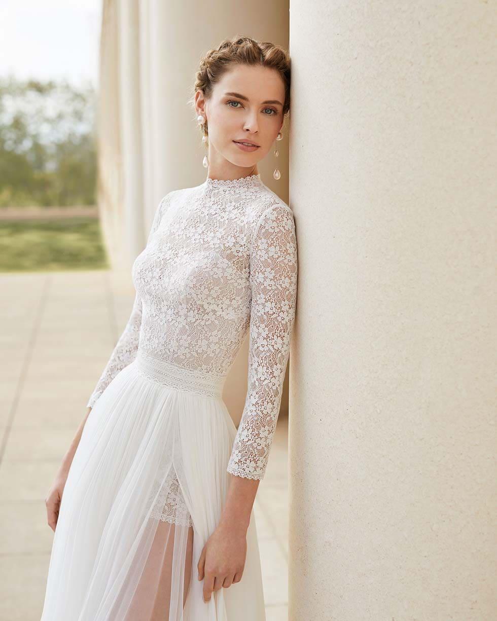 Brautkleid mit Spitze Rosa Clará Couture
