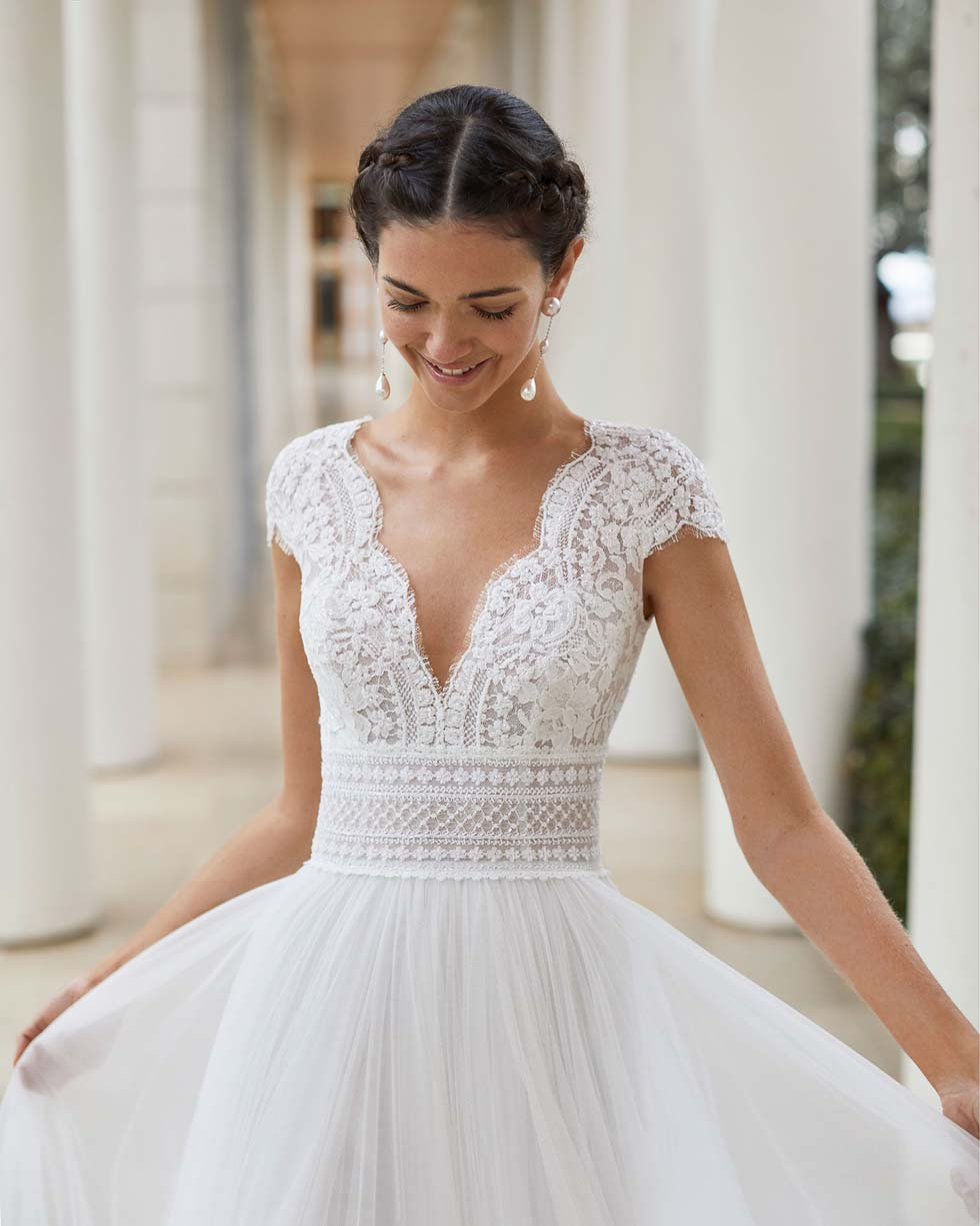 Brautkleid Boho Stil Rosa Clará Couture