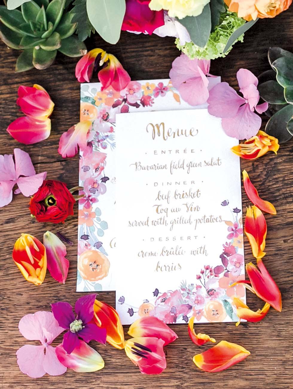 Menükarte Blüten Tischdeko