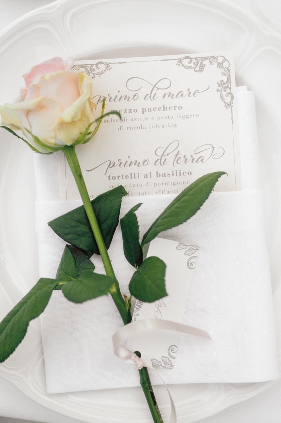 Gastgeschenk Rose Platzkarte