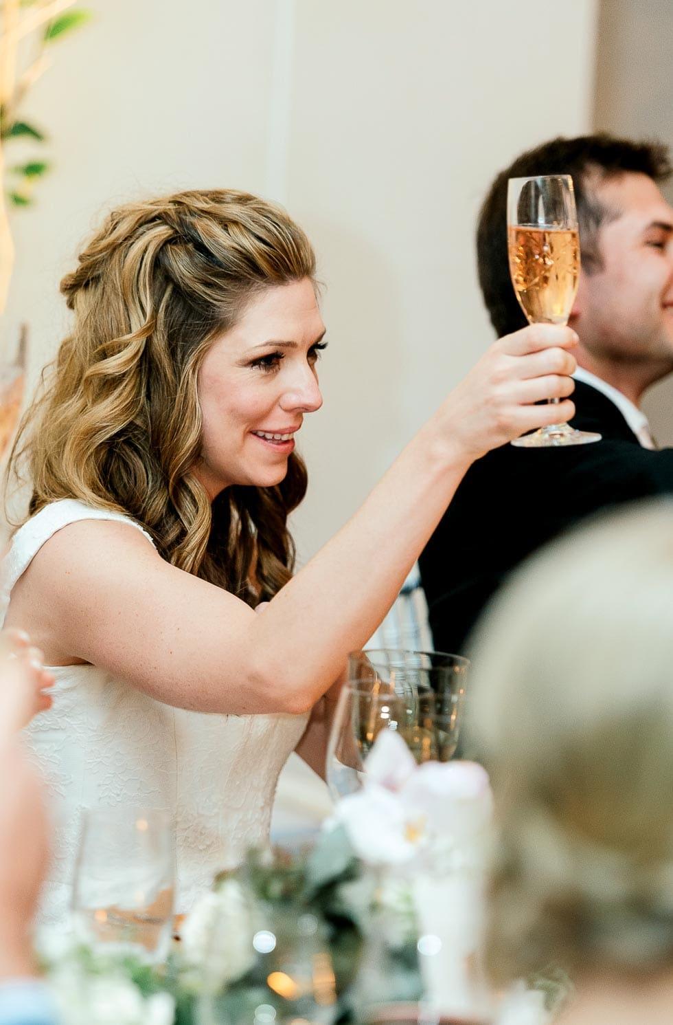 Sektglas Hochzeitsrede Braut
