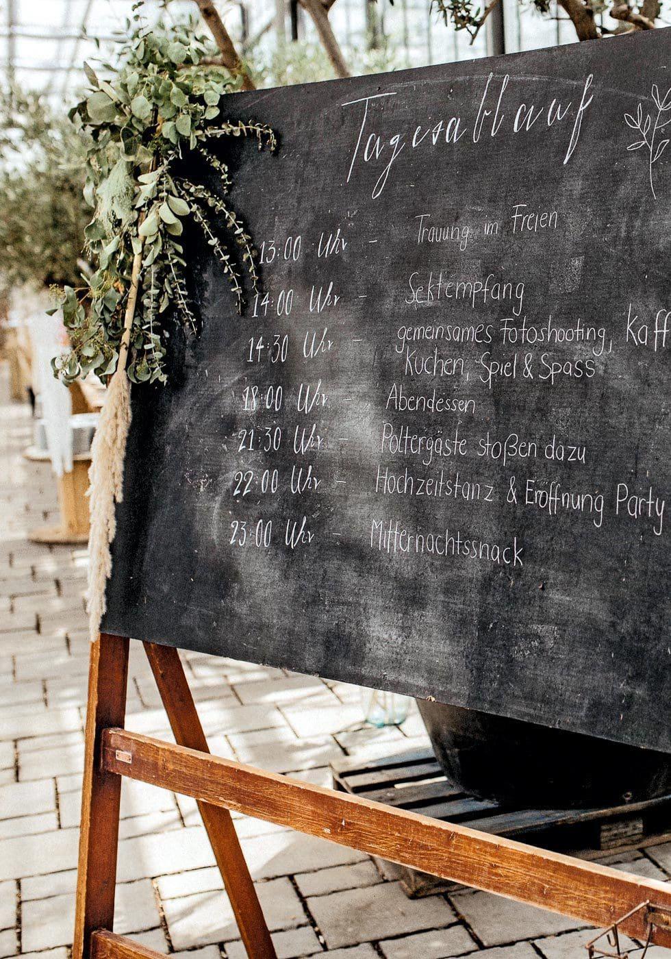 Zeitplan Hochzeit
