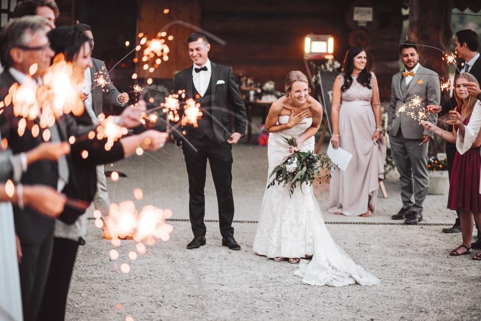 Hochzeitsreportage Empfang Brautpaar