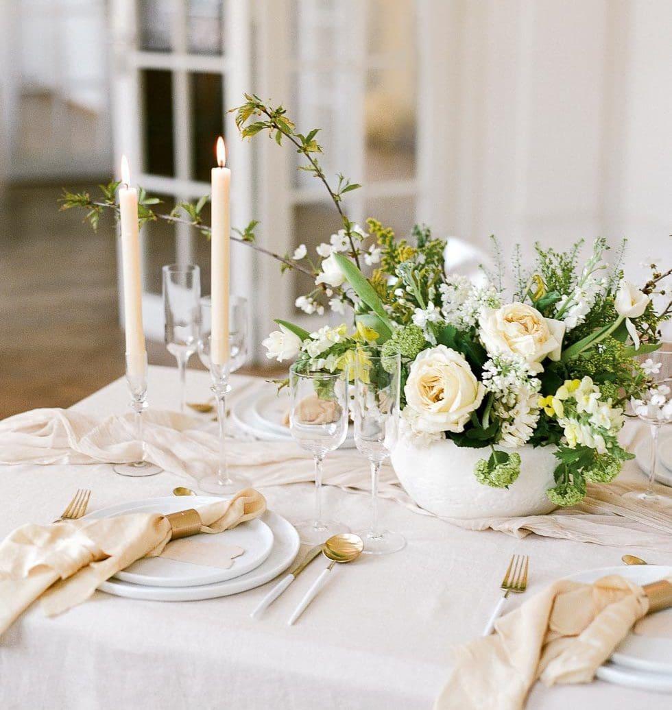 Tischdeko Weiß Gold Creme