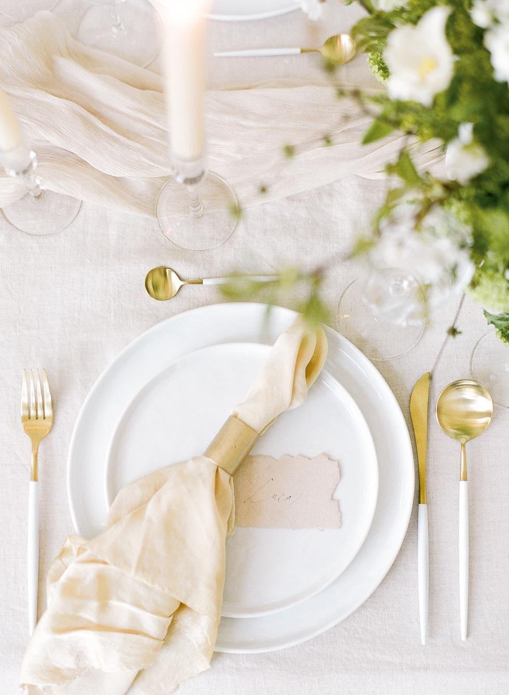 Tischdeko Weiß Creme Gold
