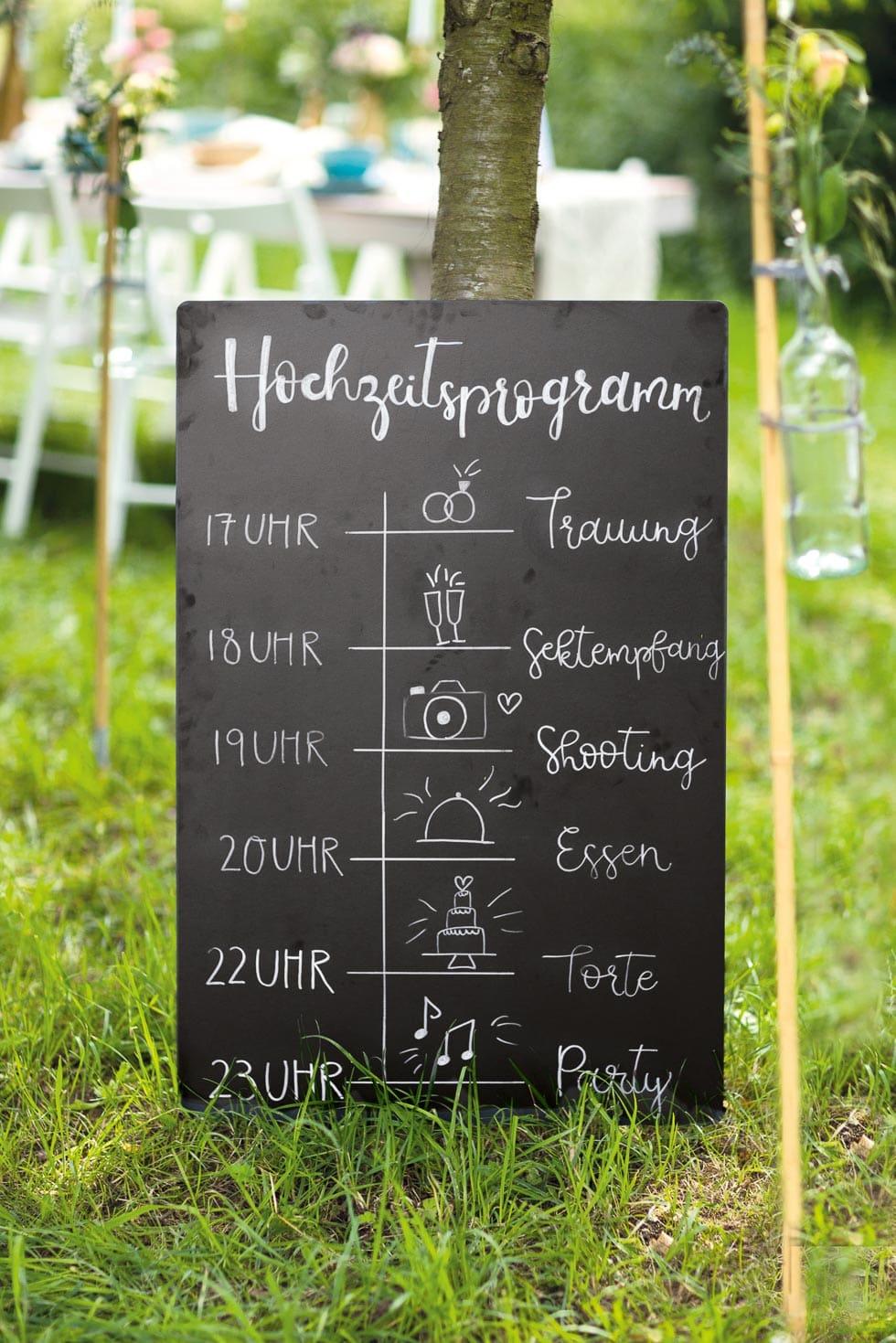 Hochzeitsprogramm Schild