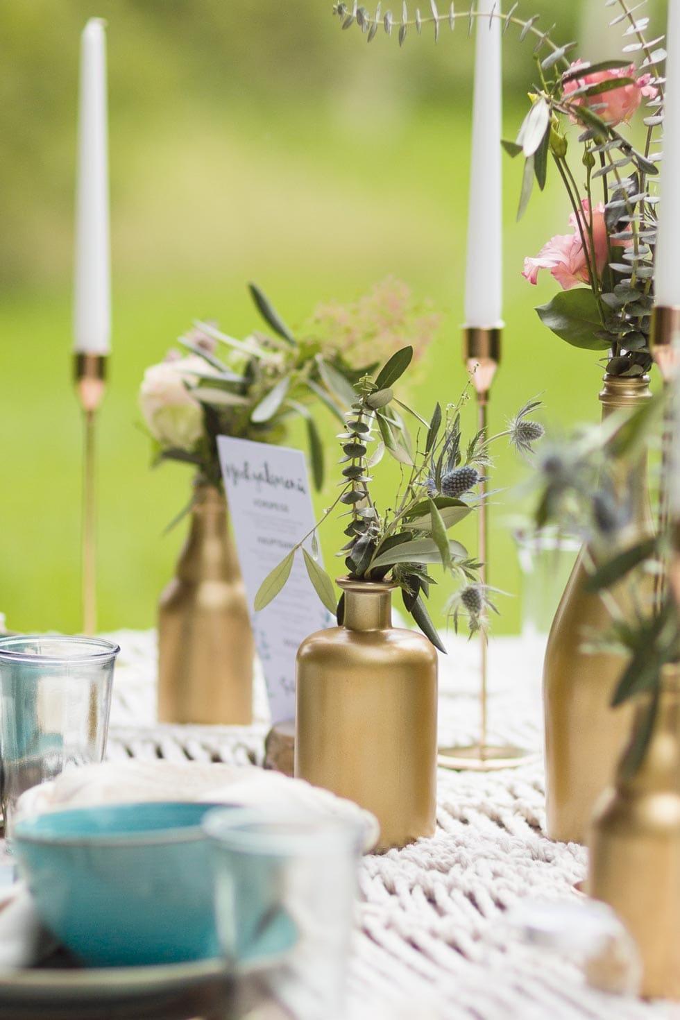 Flasche Gold Tischdeko Hochzeit