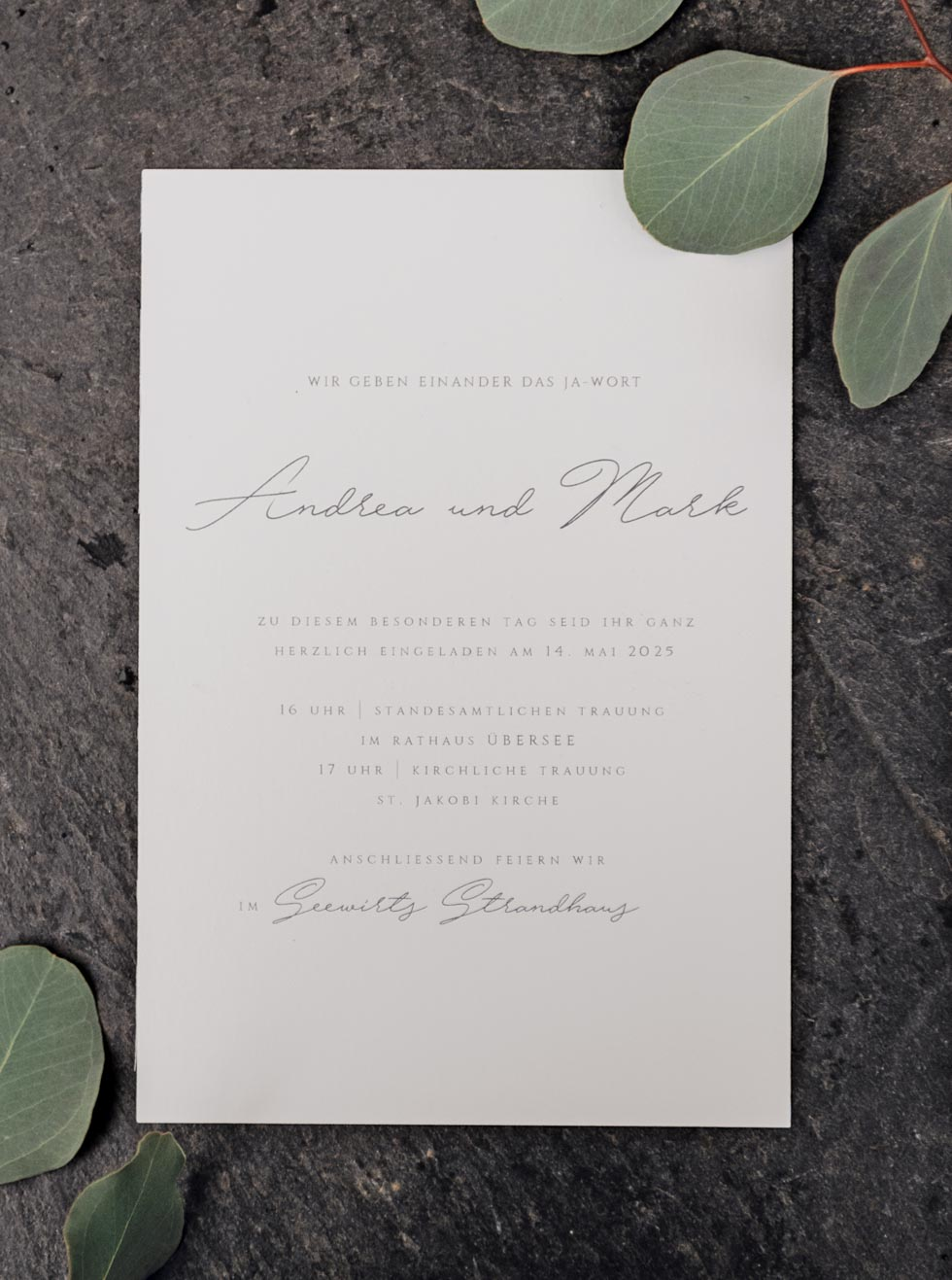 Hochzeitseinladung Handschrift