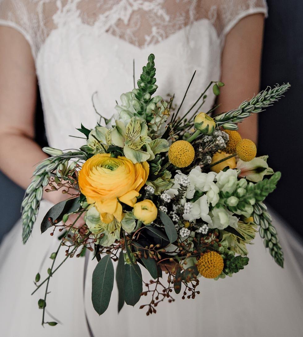 Brautstrauß Grün Gelb