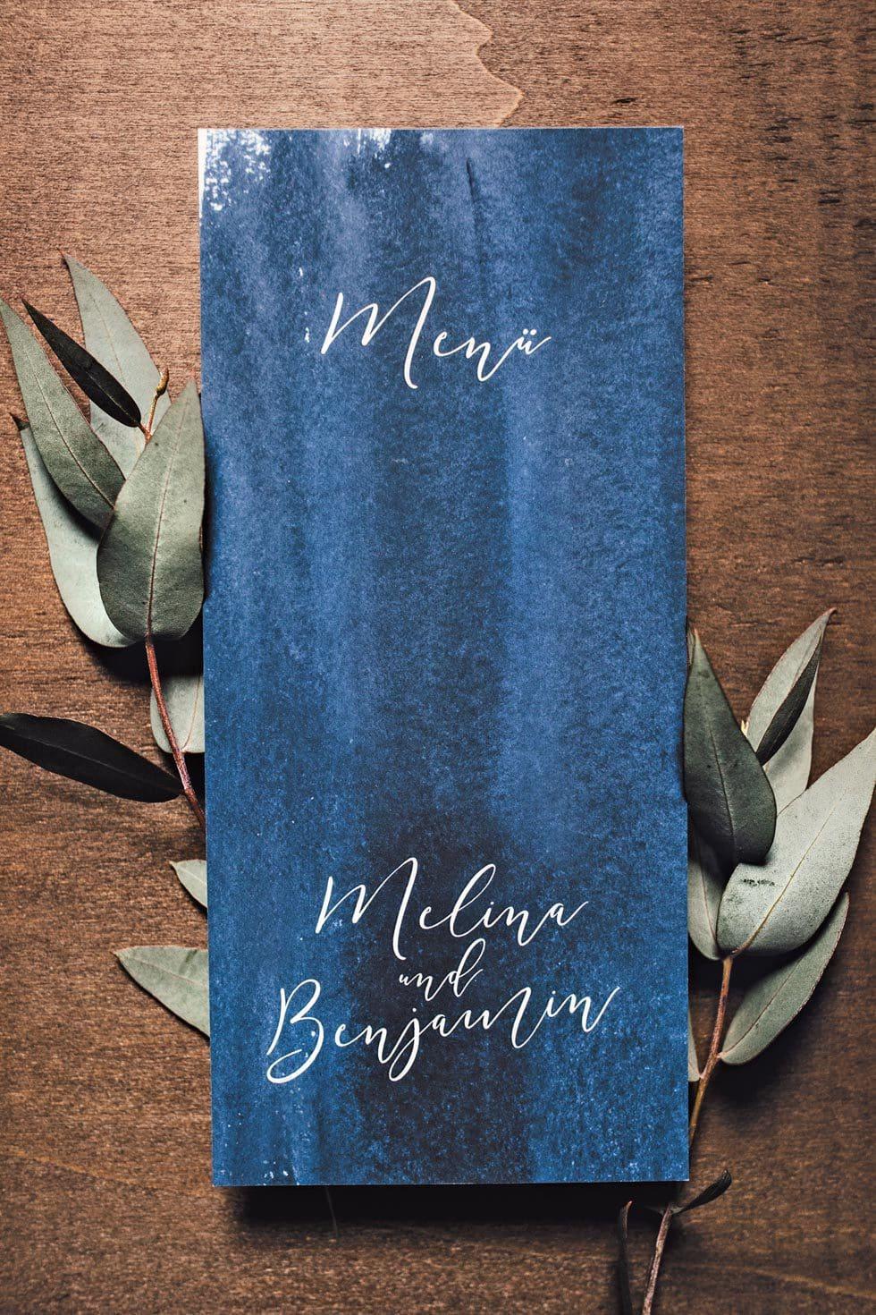 Menükarte Hochzeit Blau