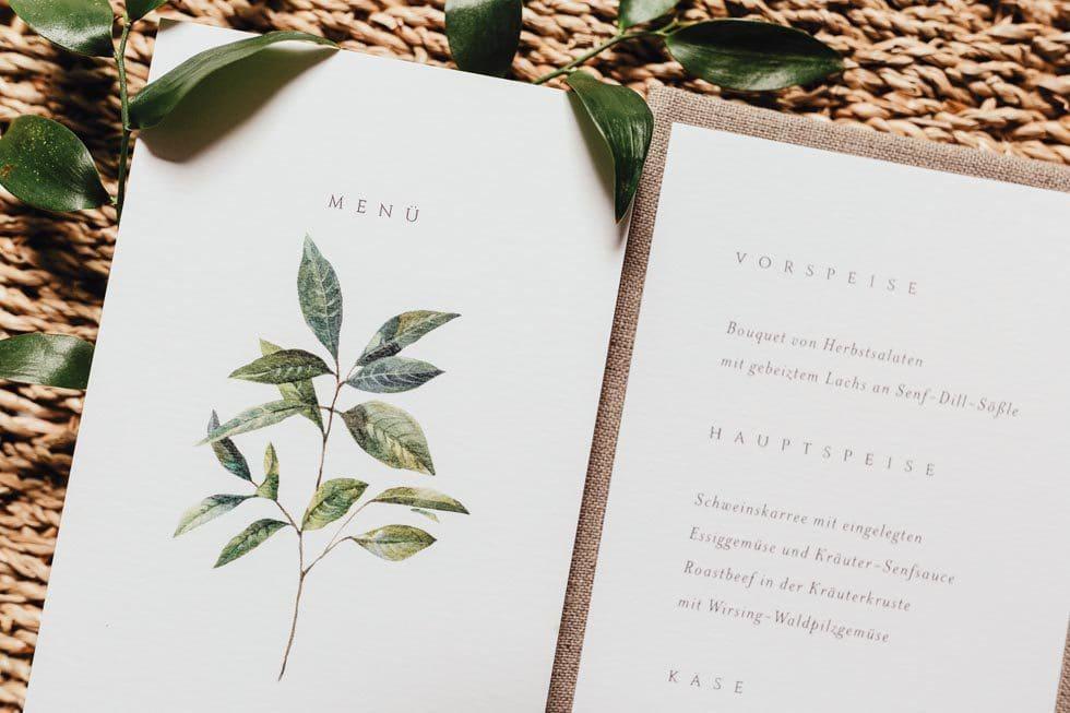 Menükarte Hochzeit Blattgrün