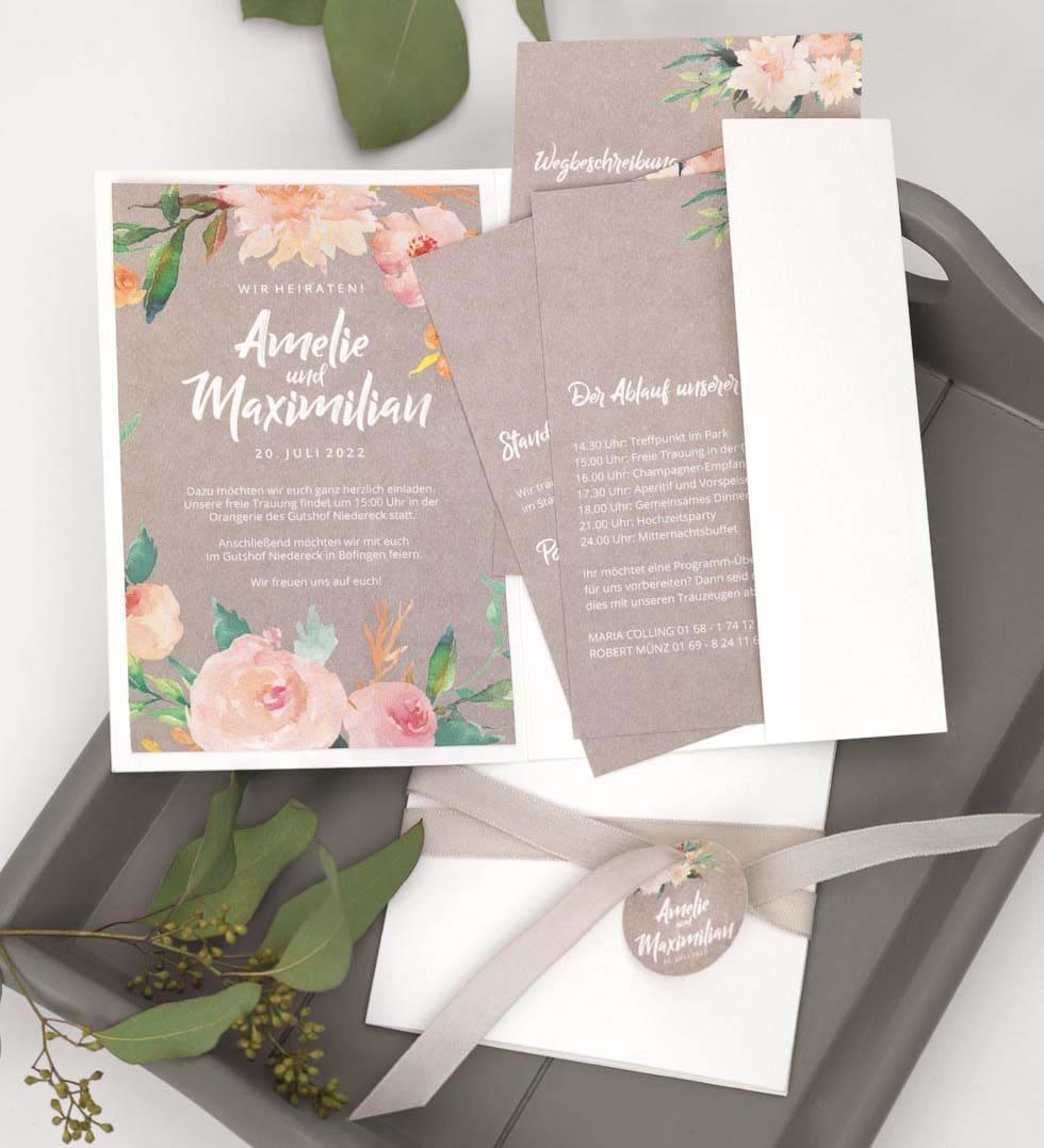 Pocketfold Hochzeitseinladung selber basteln