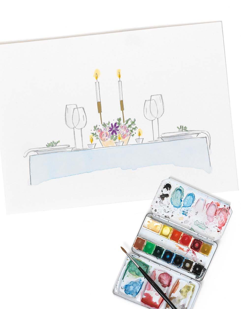 Hochzeitsfarben Tischdeko