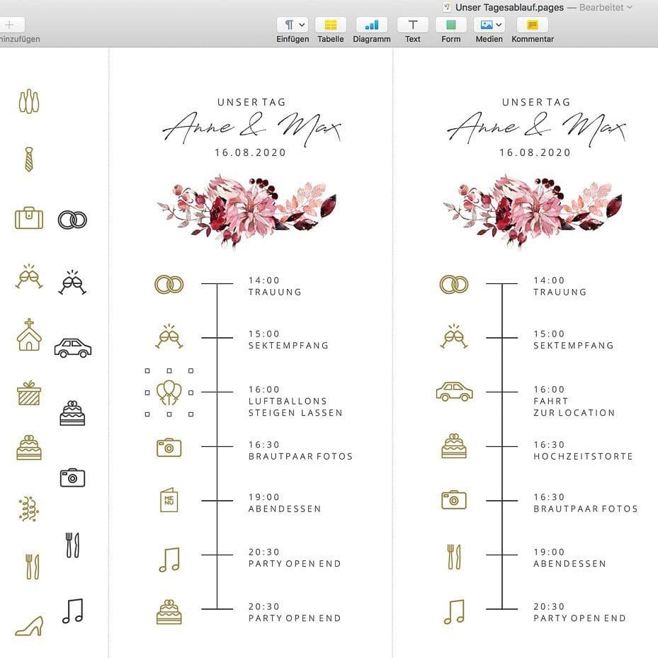 Timeline Hochzeit selbst erstellen