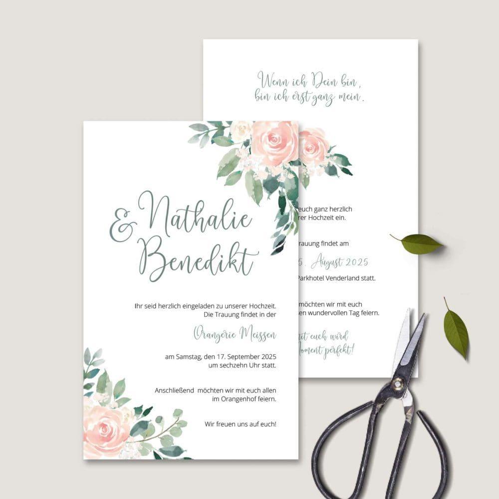 Einladung Hochzeit Rosa