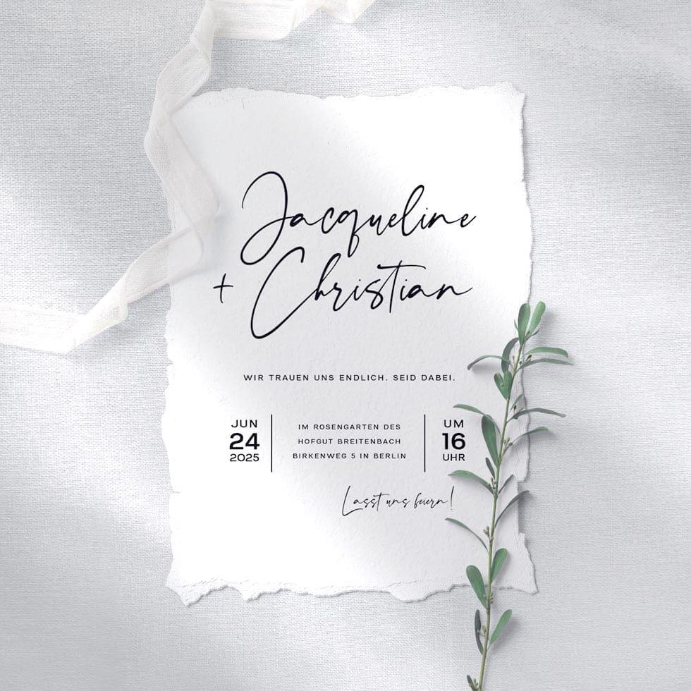 Schriften Hochzeitseinladung