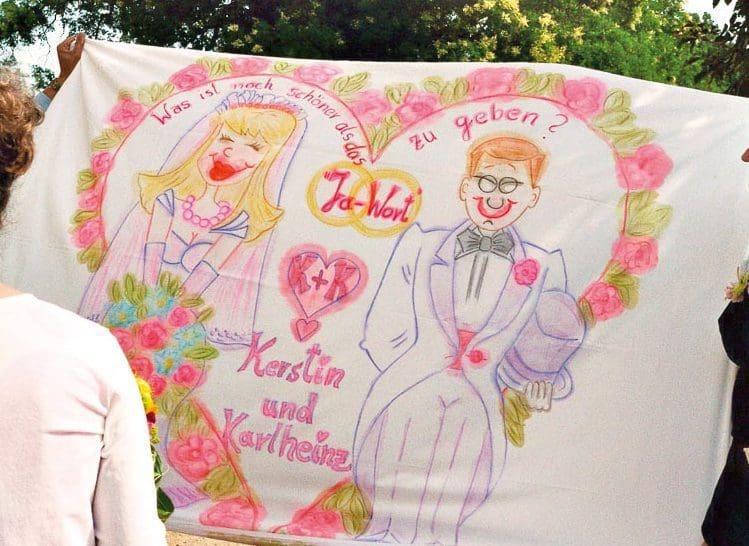 Bettlaken Hochzeit bemalen