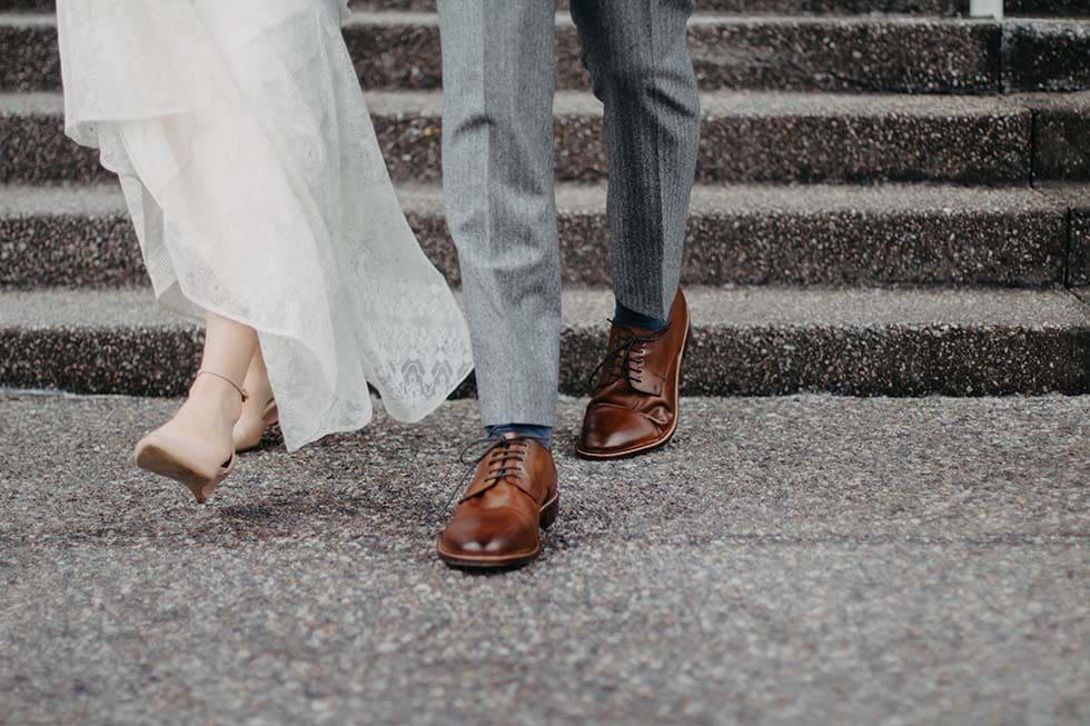 Hochzeitsschuhe Braut und Bräutigam