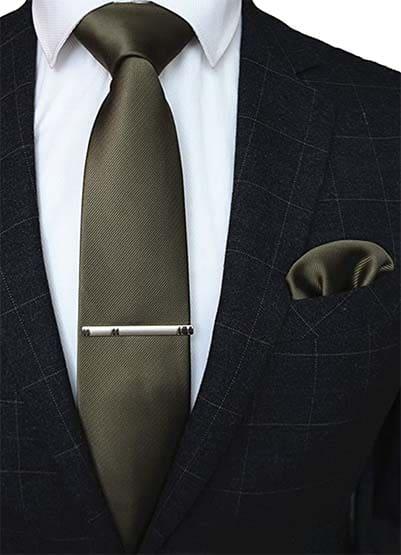 Krawatte Einstecktuch Bronze