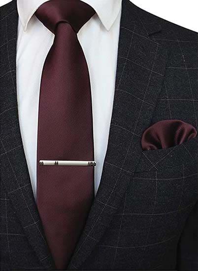 Krawatte Einstecktuch Dunkelrot