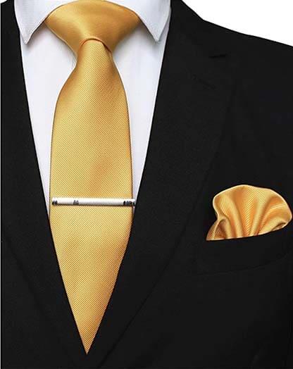 Krawatte Einstecktuch Gelb