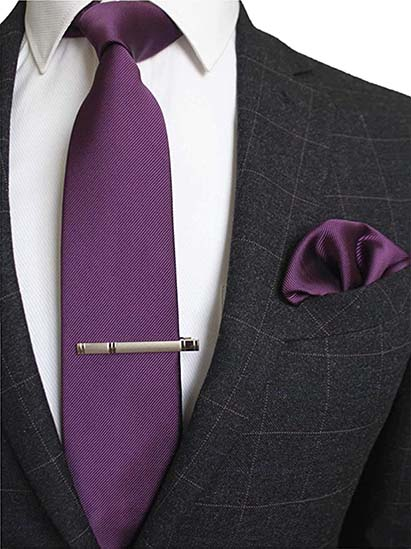 Krawatte Einstecktuch Lila