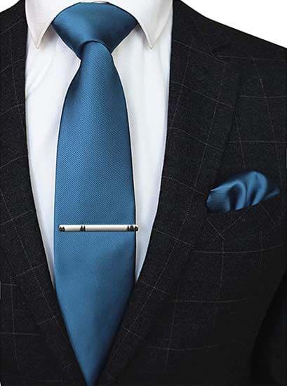 Krawatte Einstecktuch Meerblau