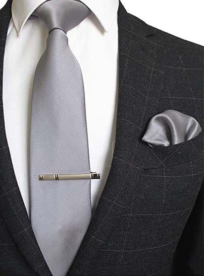 Krawatte Einstecktuch Silber