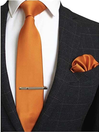 Krawatte Einstecktuch Terrakotta