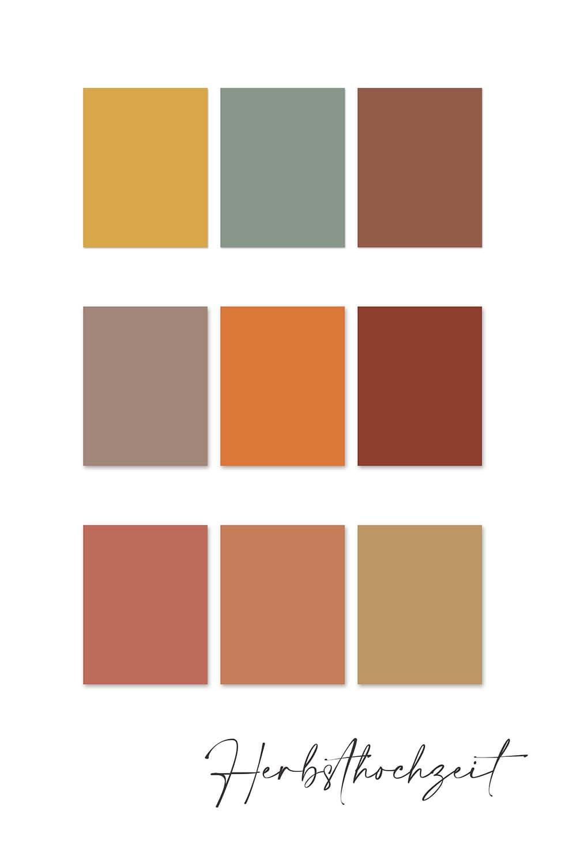 Farbkonzept Hochzeit Herbst