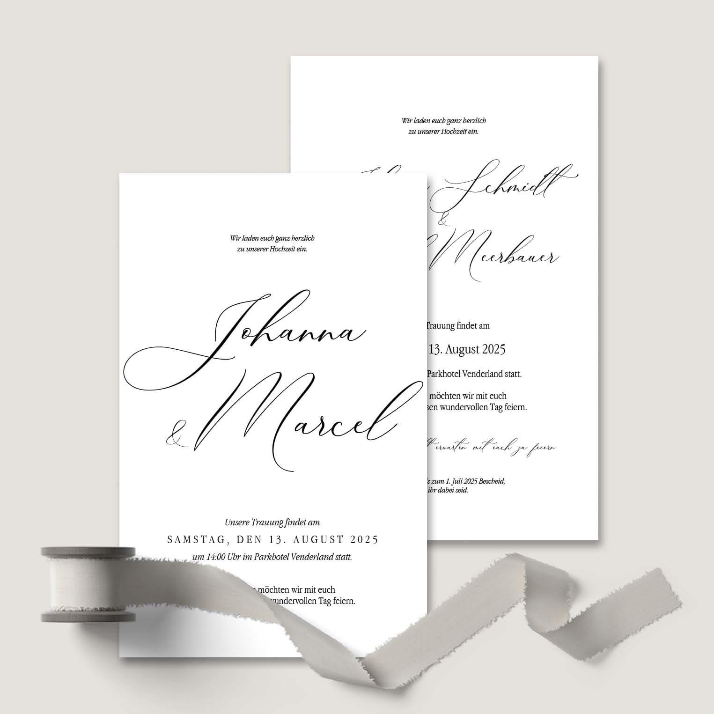 Hochzeitskarte Kalligraphie