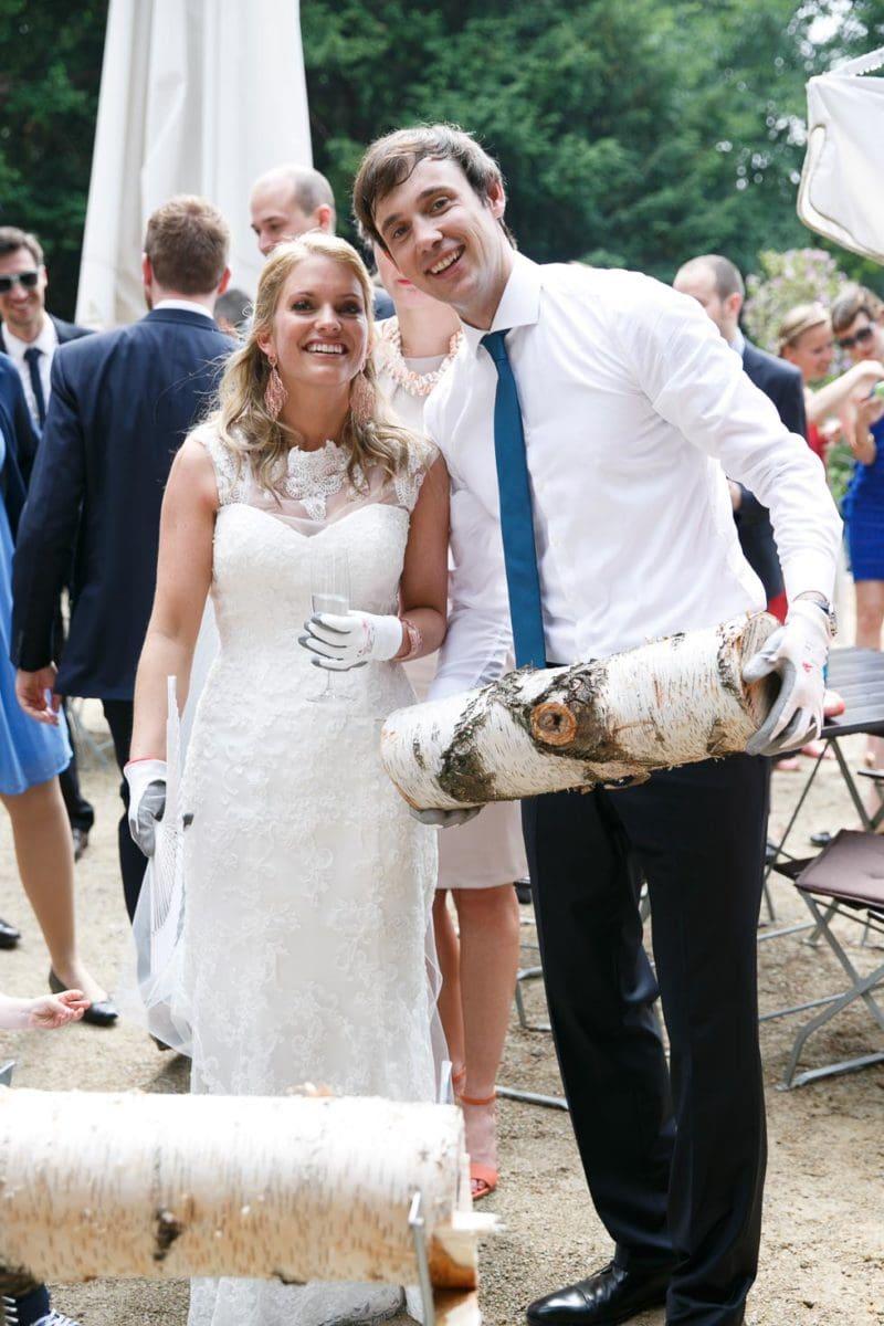 Baumstamm Sägen Hochzeit