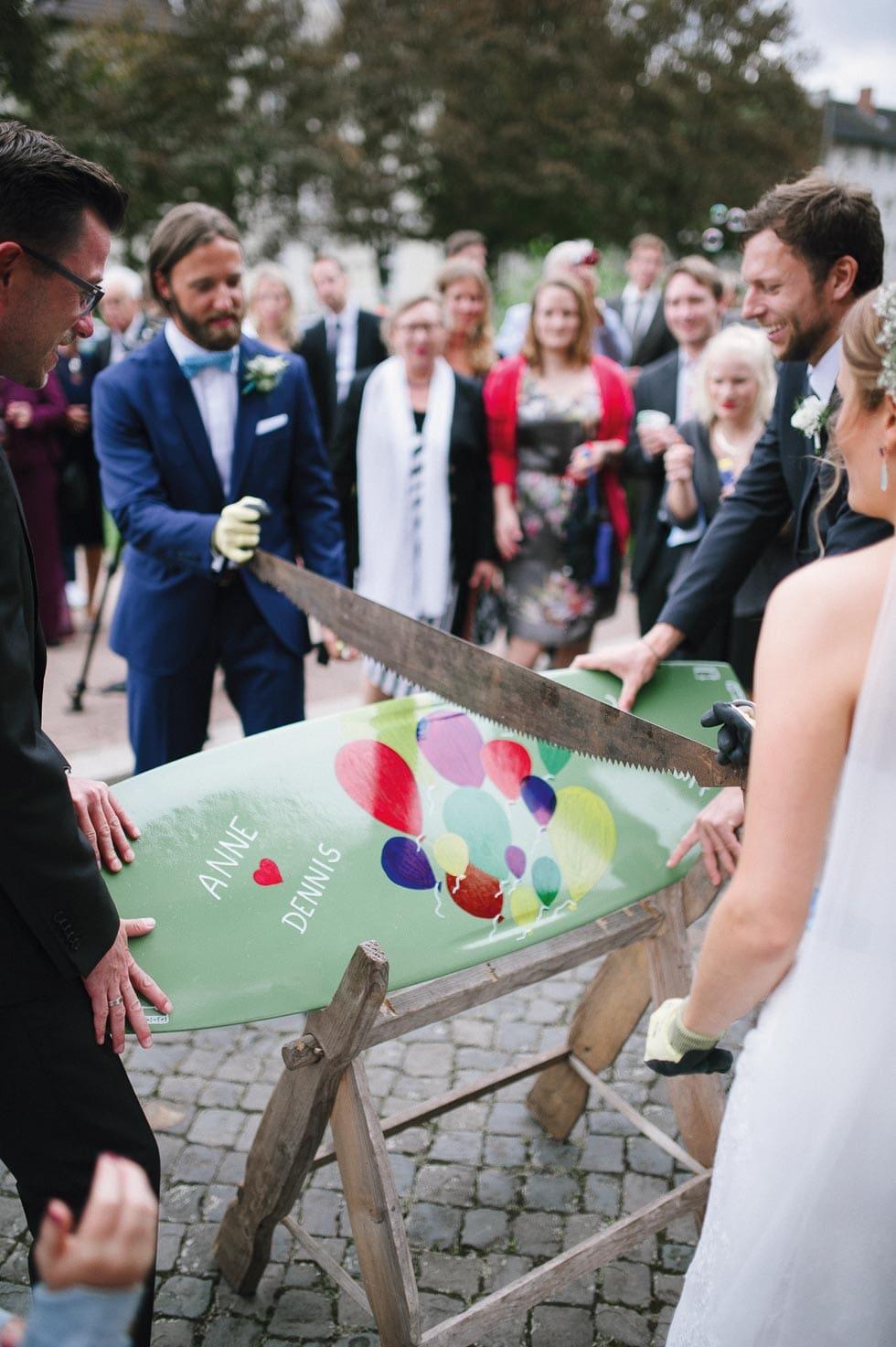 Baumstamm Sägen Hochzeit Alternative