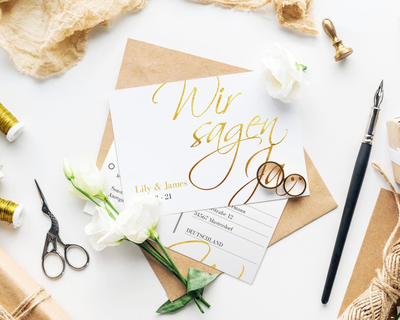 Hochzeitskarte gold Kartenparadies